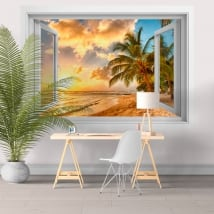 Vinyl walls sunset on the beach barbados 3d