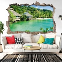 Decorative vinyl walls beach bungalows 3d