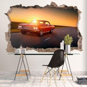 Decorative vinyl walls retro car 3d