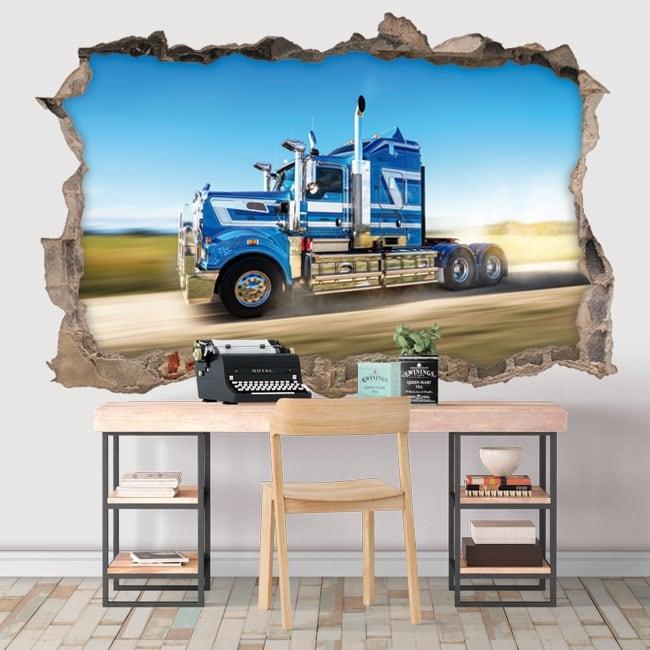 Decorative vinyl wall truck 3d