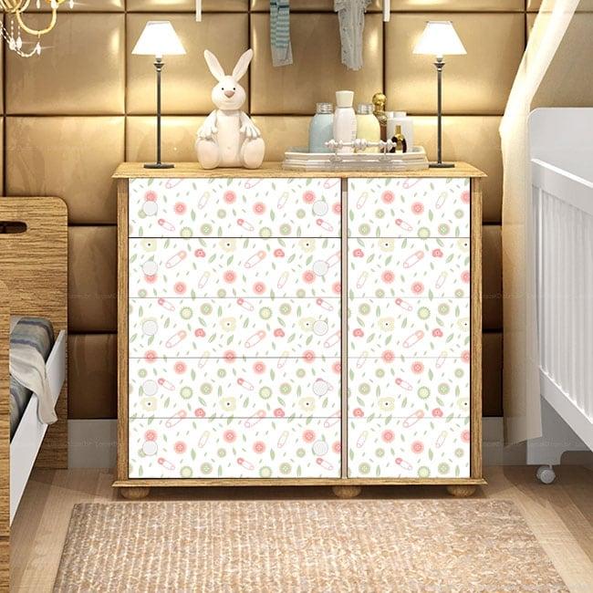 Decorative vinyl baby chest of drawers