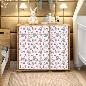 Adhesive vinyl decorate baby furniture