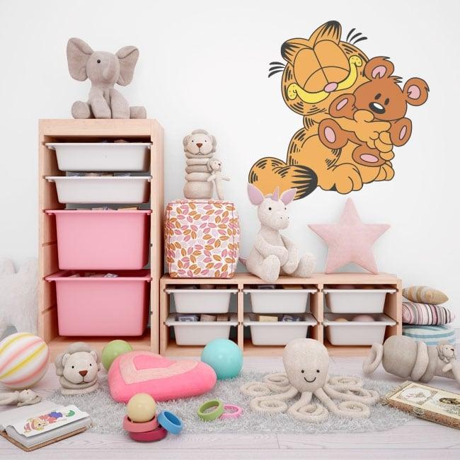 Children vinyls garfield and teddy bear