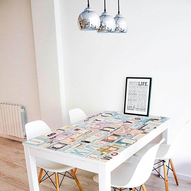 Decorative vinyl tables collage letters