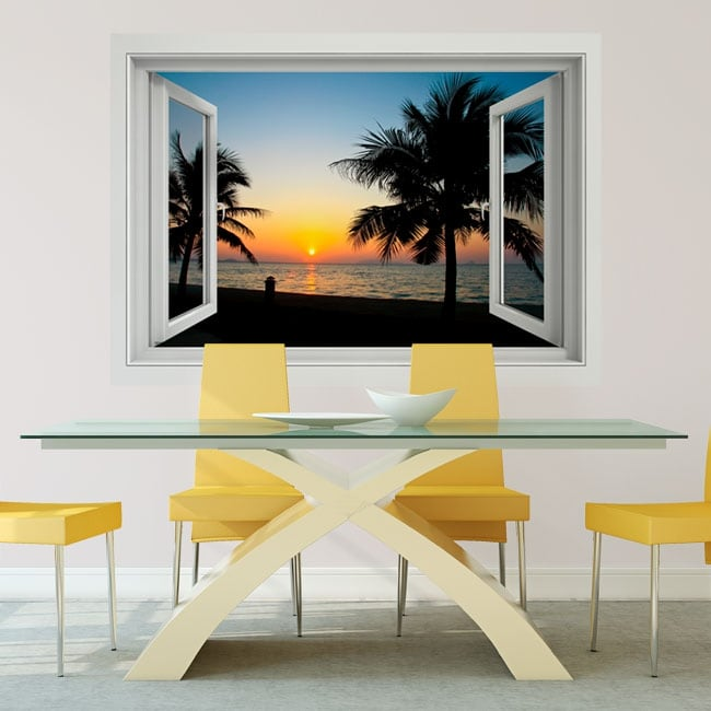 Decorative vinyl sunset on the beach window 3d