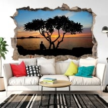 Decorative vinyl sunset in thailand 3d