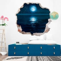 Vinyl walls moon stars and sea 3d