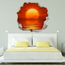 Decorative vinyl sunset at sea 3d