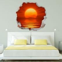 Decorative vinyl sunset at sea 3d