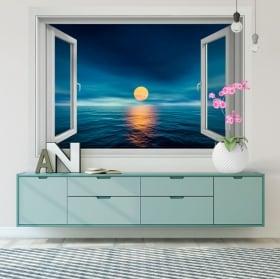 Decorative vinyl walls sunset at sea 3d