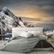 Wall murals vinyls sunset islands lofoten norway