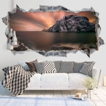 Vinyl walls sunset islands lofoten norway 3d