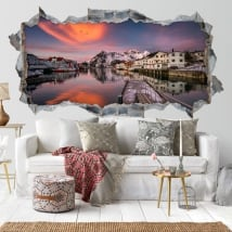 Decorative vinyl 3d sunset islands lofoten norway