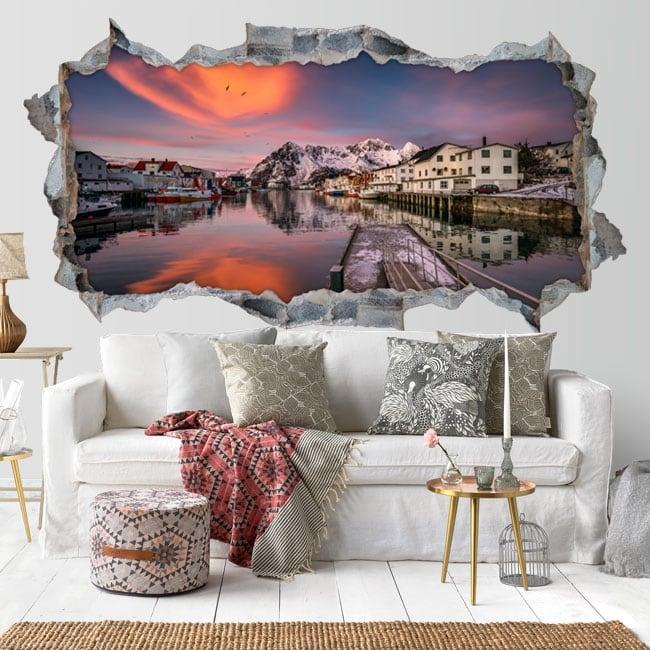 Decorative vinyl 3d sunset islands lofoten norway