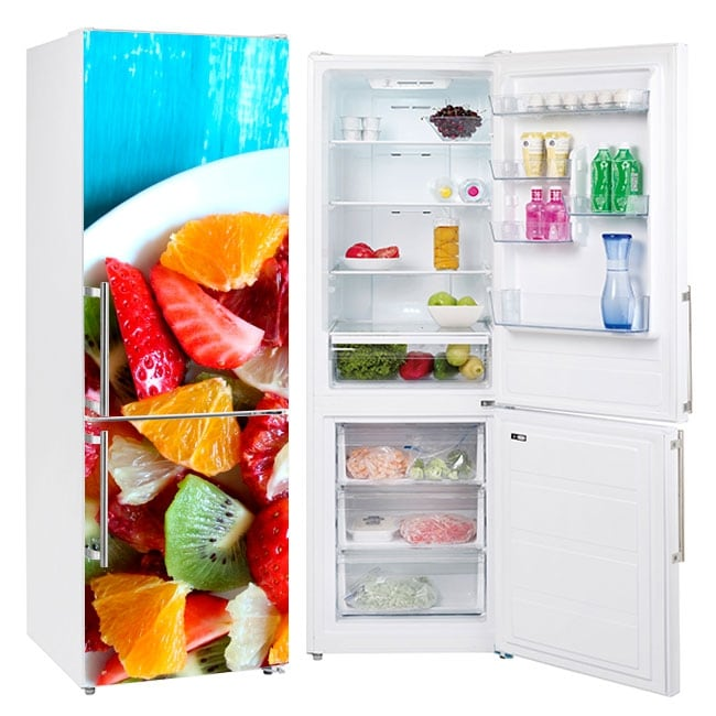 Refrigerator vinyls fruits on the plate