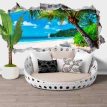 Wall murals jamaica palm tree on the beach hole 3d