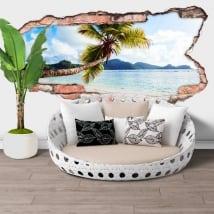 Vinyl walls palm tree seychelles island hole 3d
