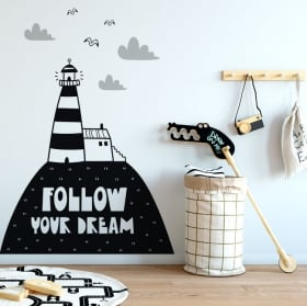 Decorative stickers phrase follow your dreams