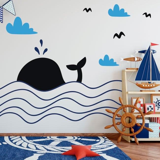 Decorative vinyl children whale in the sea