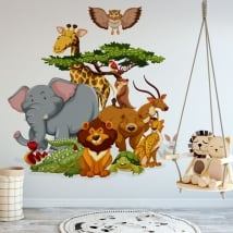 Decorative vinyl children zoo animals