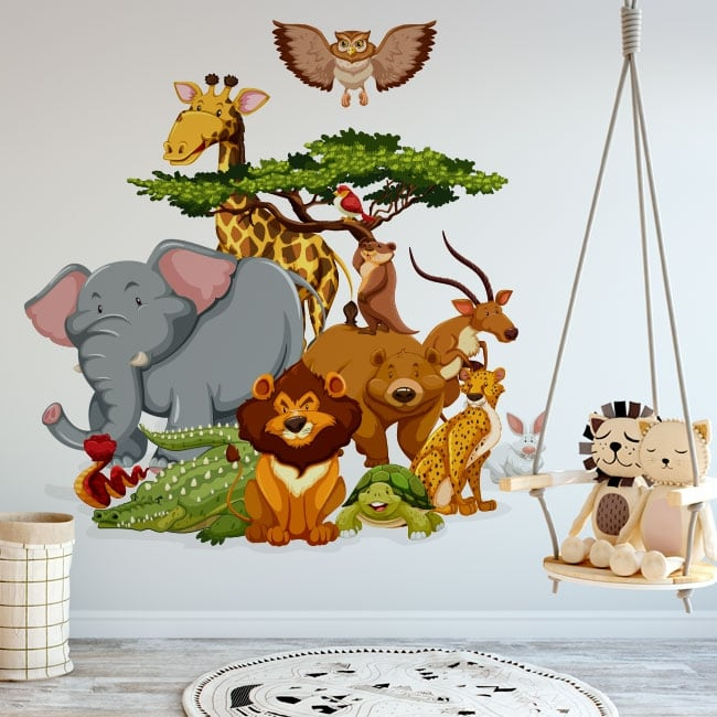 Decorative vinyl children zoo animals
