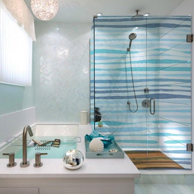 Vinyl bathroom screens blue strokes