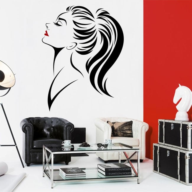 Vinyl walls and windows woman silhouette