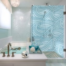 Vinyls bath screens sea waves