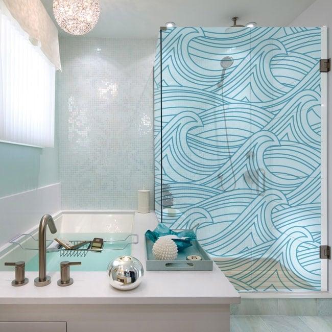 Vinyls bath screens sea waves
