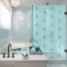 Vinyls for bathroom screens diamonds