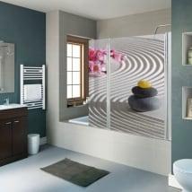 Decorative vinyl stones zen shower screens