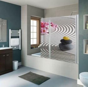 Decorative vinyl stones zen shower screens