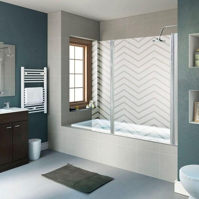 Vinyl screens bathrooms zigzag lines