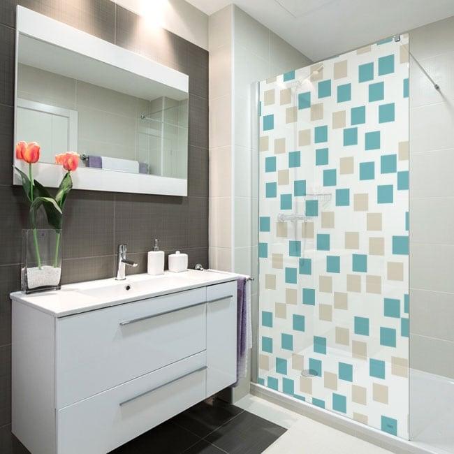 Vinyl bathroom screens squares of colors