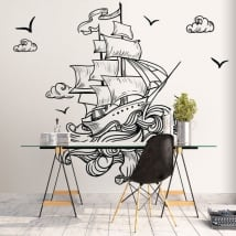 Wall mural boat in the sea