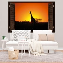 Decorative vinyl giraffe at sunset 3d window