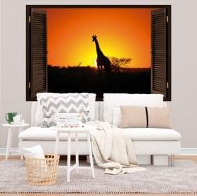 Decorative vinyl giraffe at sunset 3d window