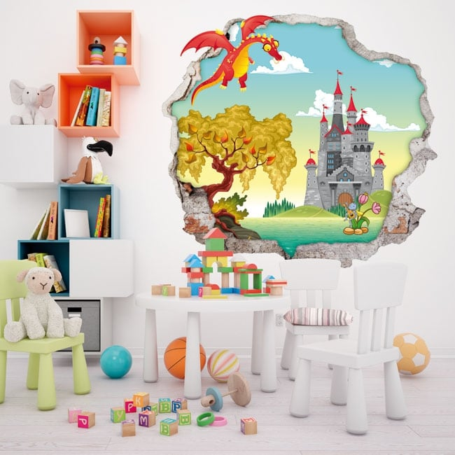 Vinyl walls children dragon and castle 3d