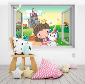 Children's vinyl princess and unicorn 3d