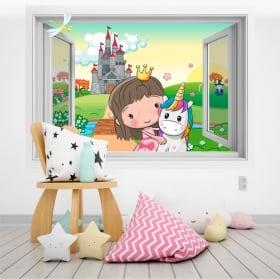Children's vinyl princess and unicorn 3d