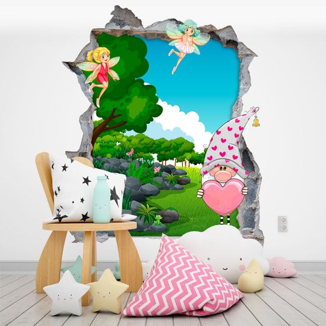 Children's vinyl gnome and magical fairies 3d