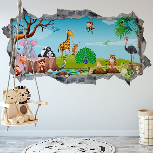 Vinyl children's walls animal nature 3d