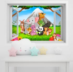 Vinyl walls children animals in the jungle 3d