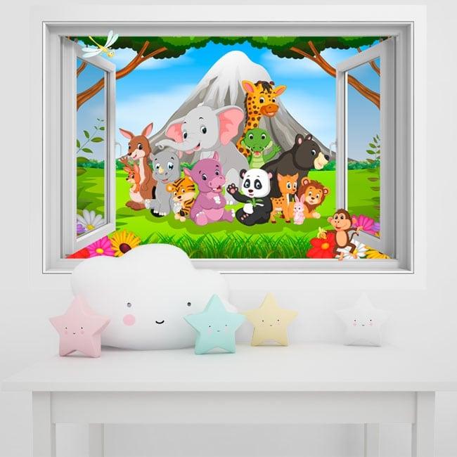 Vinyl walls children animals in the jungle 3d