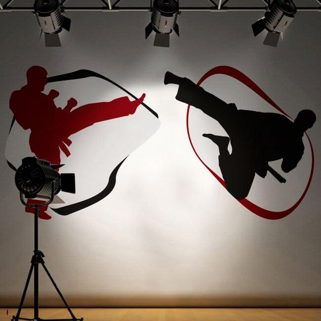 Wall murals karate-do silhouettes