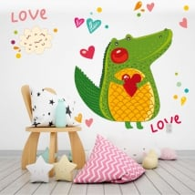 Wall murals crocodile and hearts love