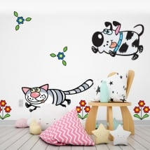 Wall murals flowers dog and cat