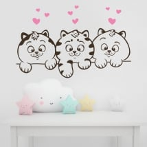 Decorative vinyl walls cats and hearts