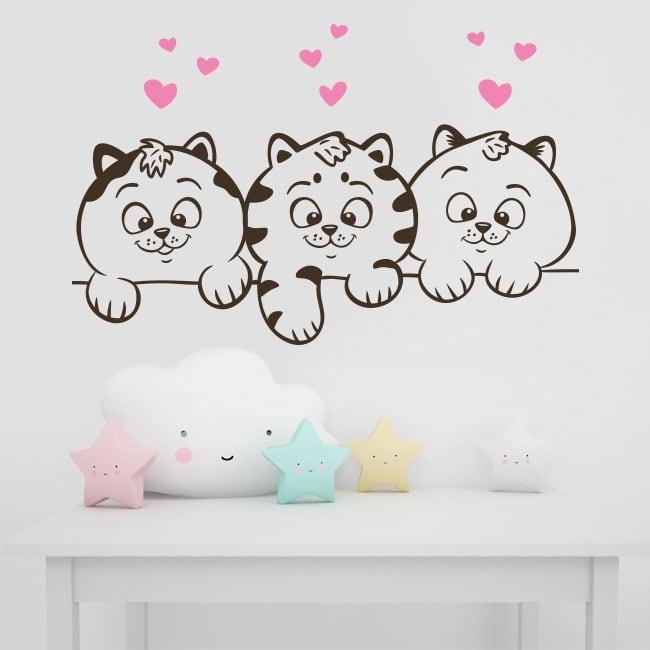 Decorative vinyl walls cats and hearts