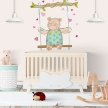 Vinyl walls children bear and swing